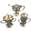 Antique pepper, salt cellar & mustard pot sterling silver London 1907