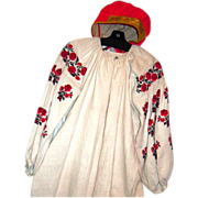 Russian embroidered peasant flax dress & red cap