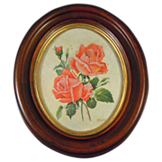 Mahogany gilt oval frame with pink rose painting