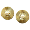 Retro cultured pearl 14k gold clip earrings