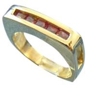 Wedding band channel set rubies 14k gold