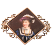 Victorian porcelain hand painted portrait gold fill brooch