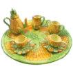 Majolica dollhouse child tea set corn design