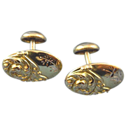 Art nouveau Oval cufflinks 10k gold