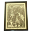 Charles Surendorf &quot;red church - night&quot; 1st edition wood block print