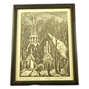 "Charles Surendorf ""red church - night"" 1st edition wood block print"