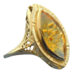 Citrine marquise 14k white gold openwork ring