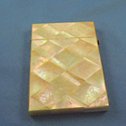 Mother of pearl calling card case diamond design