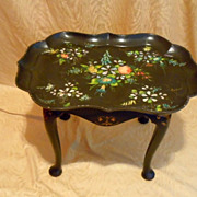 Paper mache decorated tray & table Victorian