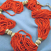 Coral bead necklace with small beads
