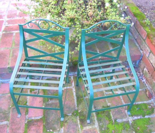 French steel garden chairs for child green (2)