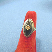 Art Deco marquis onyx  diamond 14k white gold ring