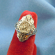 Art Deco diamonds & white gold ring 14k