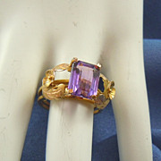 Violet amethyst ring 14k yellow gold
