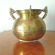 Asian brass with inlay large vase