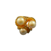 Pearls & diamonds ring shell setting 14k gold