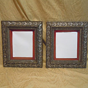 Mirrors silver gilt velvet border Pair (2)