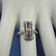 Art Deco sapphires & diamonds 18k white gold ring