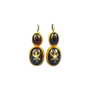 Victorian  cabochon garnet & seed pearl 14k gold earrings