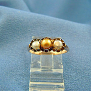 Victorian claw set 3 pearl ring 14k gold