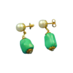 Natural turquoise & cultured pearl earrings 14k gold