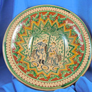 Italian majolica wedding pedestal bowl large