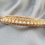 Pearls & Rope Twist 14k Gold bangle bracelet