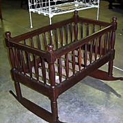 Walnut and Cherry Rocking Cradle or Crib  Hand Made 1840