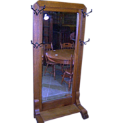 Oak Quarter Sawn Hall Tree , Hall Stand, Full Length Mirror