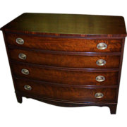 Mahogany Four Drawer Chest, Federal Sheraton Hepplewhite Style, Kindel