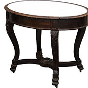 Rosewood Center Table, Inset Marble Top, Acanthus Leafy Carving