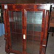Mahogany Bookcase or China Cabinet Federal Empire Revival, Claw Feet, Columns, Scrolls