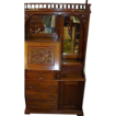 Walnut Secretary Desk, Victorian, Doors, Drawers, Carving