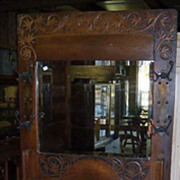 Oak Hall Tree with Mirror and Carving
