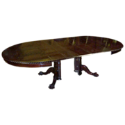 "Mahogany Dining Table 54"" Chippendale Style with 5 Leaves"