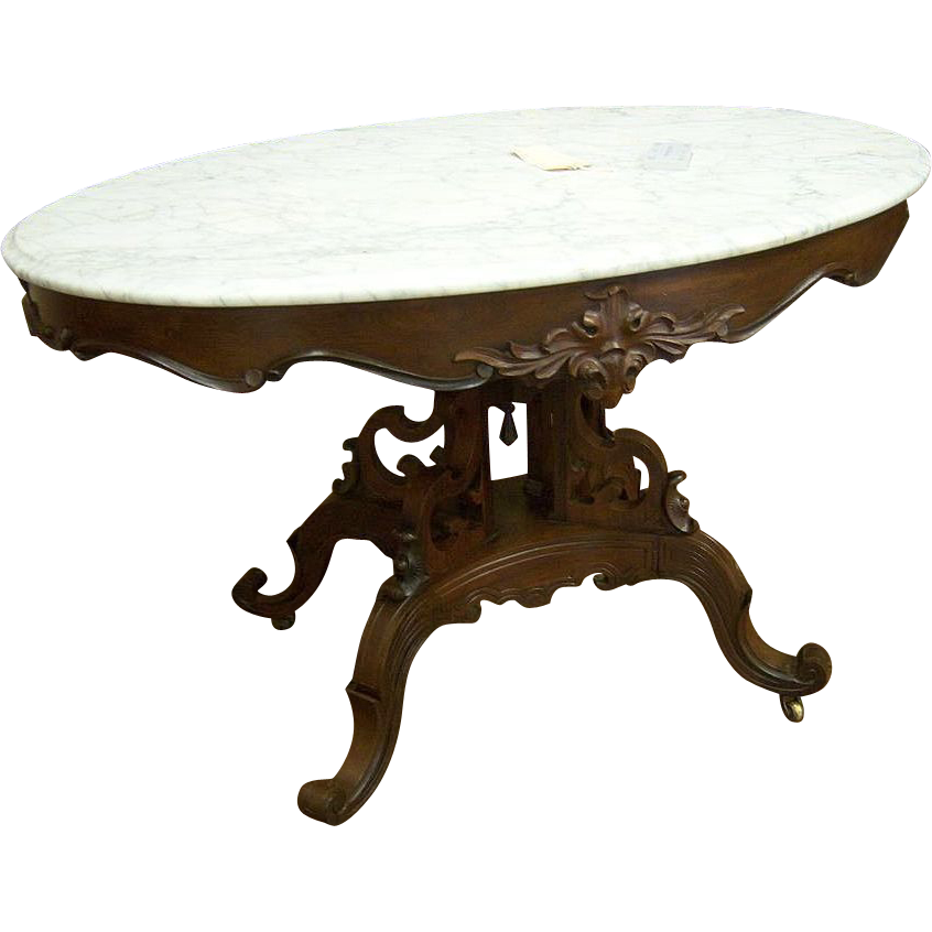 Rosewood Marbletop Table, Victorian, Rococo