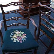 Chippendale Style Ribbon Back Mahogany Dining Chairs Set of 8