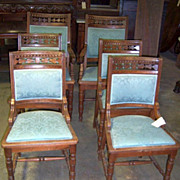 Walnut Dining Chairs Eastlake Victorian, Set of Six , Carving