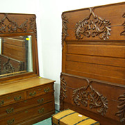Oak Bedroom Set, Three Pieces, High Bed, Dresser, Washstand Carved