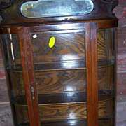 Oak China Cabinet, Curved Glass, Mirror Carving
