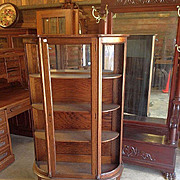 Oak China Cabinet Curved Glass Paw Feet