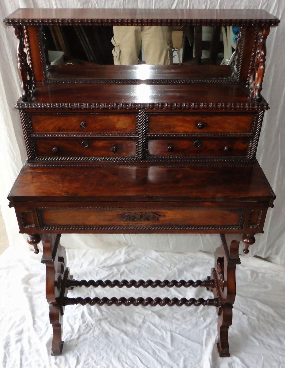 Rosewood Writing Desk and Game Table, Escritoire. Roux, Meeks Quality