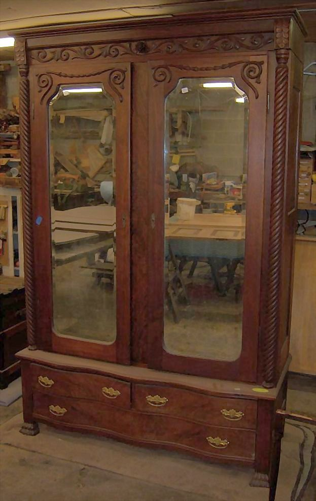 Walnut Wardrobe, Armoire. Two Door with Mirrors
