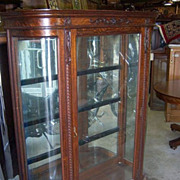 Oak China Cabinet Curved Glass, Mirror, Carving