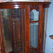 Oak Victorian China Cabinet, Curved Glass, Carving, Double Door