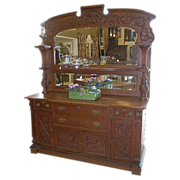 Oak Sideboard, American, Victorian, Carved, Mirrors