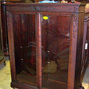 Mahogany Empire Revival Bookcase, Carved Faces and Vines