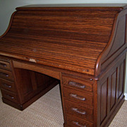 Oak Roll Top Desk, 60 Inch, S Curve Roll, Raised Panels, Full Fitted Interior