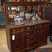 Walnut Victorian Sideboard, Marble Top