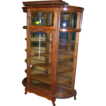 Oak Curved Glass China Cabinet, Carved, Two Doors